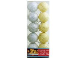 18 Units of White and Beige Yarn Ball String Lights - Lightbulbs