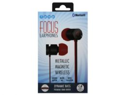12 Units of iPop Focus Black/Red Bluetooth Earphones with Case - Headphones and Earbuds
