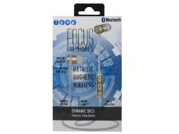 6 Units of iPop Focus Gold Bluetooth Earphones with Case - Headphones and Earbuds