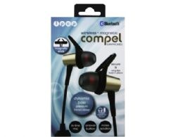 6 Units of iPop Compel Gold Bluetooth Earphones with Case - Headphones and Earbuds