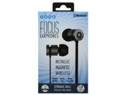6 Units of iPop Focus Silver and Black Bluetooth Earphones with Case - Headphones and Earbuds