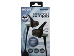 6 Units of iPop Compel Silver Bluetooth Earphones with Case - Headphones and Earbuds