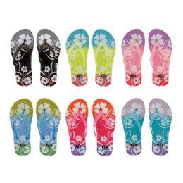 72 Units of Women's Flower Design Flip Flops - Women's Flip Flops