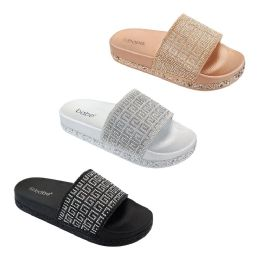15 Units of Women's Rhinestone Slide In Black - Women's Slippers