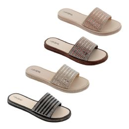 40 Units of Women's Rhinestone Slide In Assorted Color - Women's Sandals