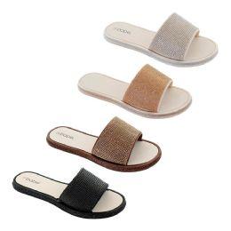 40 Units of Women's Rhinestone Slide Assorted Color - Women's Sandals