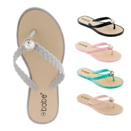 60 Units of Women's Flip Flop with Braided Straps and Crystal - Women's Flip Flops