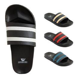 48 Units of Mens Slide Sandals Assorted Colors - Men's Flip Flops and Sandals