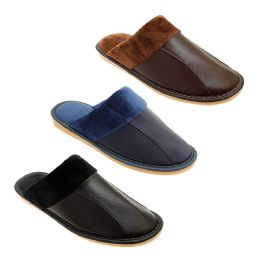 36 Units of Mens Warm Fuzzy Lined Leather Slippers - Men's Slippers