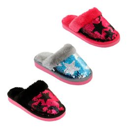 48 Units of Girls Magic Star Sequin Winter Slippers - Girls Slippers
