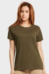24 Units of FIRST QUALITY LADIES CLASSIC FIT CREW NECK T-SHIRT IN OLIVE - Women's T-Shirts