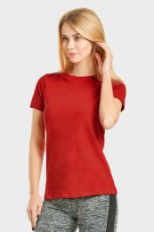 24 Units of Ladies Classic Fit Crew Neck T-Shirt In Red - Women's T-Shirts