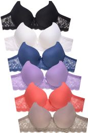 72 Units of SOFRA LADIES FULL CUP PLAIN LACE COTTON D CUP BRA - Womens Bras And Bra Sets