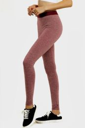 36 Units of Sofra Ladies Space Dye Exercise Tights In Burgandy - Womens Active Wear