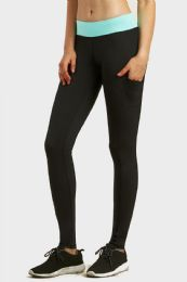 36 Units of SOFRA LADIES ACTIVE LEGGING WITH SIDE POCKET IN BLACK MINT - Womens Leggings