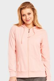 12 Units of SOFRA LADIES THIN ZIP UP HOODIE JACKET PEACH IN SIZE LARGE - Womens Sweaters & Cardigan