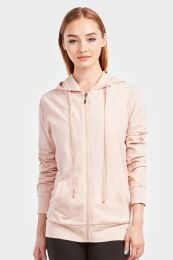 12 Units of SOFRA LADIES THIN ZIP UP HOODIE JACKET BLUSH IN SIZE LARGE - Womens Sweaters & Cardigan