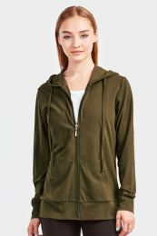 12 Units of SOFRA LADIES THIN ZIP UP HOODIE JACKET COLOR OLIVE IN SIZE LARGE - Womens Sweaters & Cardigan