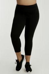 36 Units of SOFRA LADIES COTTON CAPRI LEGGINGS PLUS SIZE BLACK - Womens Leggings