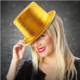 48 Units of Adults Gold Glitter Top Hat - Party Hats & Tiara