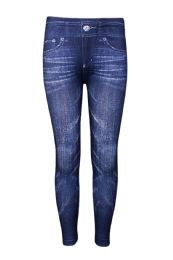 72 Units of Sofra Girls Printed Jeans In Blue - Girls Apparel