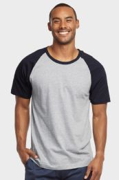 30 Units of TOP PRO MENS SHORT SLEEVE BASEBALL TEE IN NAVY AND LIGHT GREY SIZE LARGE - Mens T-Shirts