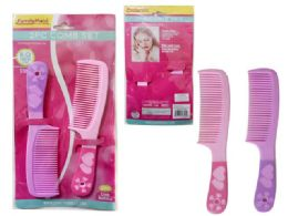 144 Units of 2pc Combs W/ Rubber Handle - Hair Brushes & Combs