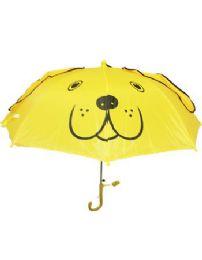 24 Units of Children Yellow Umbrella With U Shape Handle Printed Puppy - Umbrellas & Rain Gear