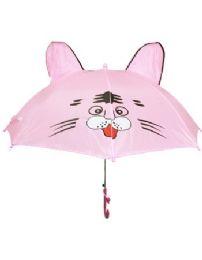 24 Units of Children Pink Umbrella With U Shape Handle - Umbrellas & Rain Gear