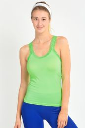 72 Units of SOFRA LADIES RACERBACK CAMISOLE WITH LACE IN NEON LIME - Womens Camisoles & Tank Tops