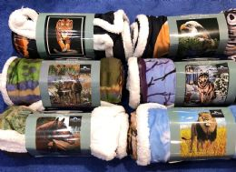 "18 Units of Amalfi Sherpa Animal Throw Blanket 50""x60"" - Sleep Gear"