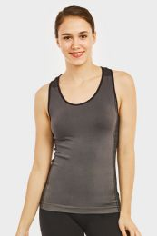 60 Units of SOFRA LADIES SEAMLESS TANK TOP WITH KNITTED DESIGN IN CHARCOAL GREY - Womens Camisoles & Tank Tops