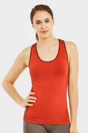 60 Units of SOFRA LADIES SEAMLESS TANK TOP WITH KNITTED DESIGN IN CHERRY - Womens Camisoles & Tank Tops