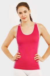 60 Units of SOFRA LADIES SEAMLESS TANK TOP WITH KNITTED DESIGN IN FUSCHIA - Womens Camisoles & Tank Tops