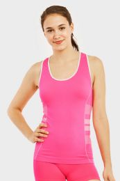 60 Units of SOFRA LADIES SEAMLESS TANK TOP W/ KNITTED DESIGN IN PINK - Womens Camisoles & Tank Tops