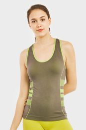 60 Units of SOFRA LADIES SEAMLESS TANK TOP W/ KNITTED DESIGN IN GREY - Womens Camisoles & Tank Tops