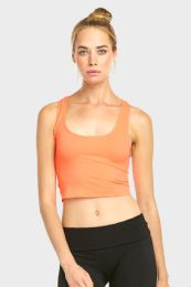 60 Units of Sofra Ladies Crop Tank Top In Peach - Womens Camisoles & Tank Tops