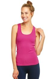 72 Units of Sofra Ladies Racerback Tank Top In Fuschia - Womens Camisoles & Tank Tops