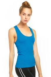 72 Units of Sofra Ladies Racerback Tank Top In Turquoise - Womens Camisoles & Tank Tops