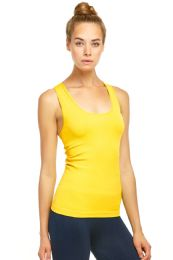 72 Units of Sofra Ladies Racerback Tank Top In Yellow - Womens Camisoles & Tank Tops