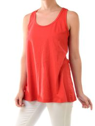 72 Units of Sofra Ladies Loose Fit Jersey Tank Top In Red - Womens Camisoles & Tank Tops