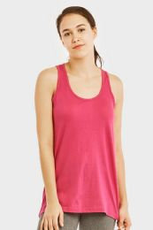 72 Units of Sofra Ladies Loose Fit Jersey Tank Top In Fuschia - Womens Camisoles & Tank Tops