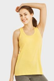 72 Units of Sofra Ladies Loose Fit Jersey Tank Top In Yellow - Womens Camisoles & Tank Tops