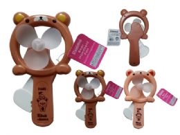 96 Units of Mini Handheld Fan, Bear - Novelty Toys