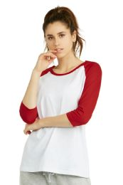 36 Units of Cottonbell Ladies Baseball Tee In Red Size Small - Women's T-Shirts