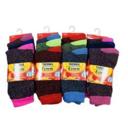 24 Units of 3 Pair Women's Thermal Crew Socks 9-11 [Assorted] - Mens Crew Socks