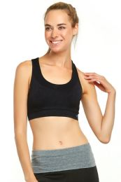 72 Units of Sofra Ladies Seamless Sports Bra In Black Size Large - Womens Active Wear