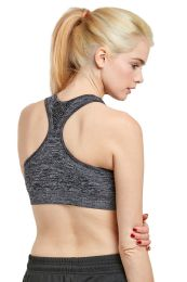 72 Units of Sofra Ladies Sports Bra With Pad In Heather Grey - Womens Active Wear