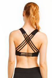 72 Units of Sofra Ladies Cross Back Sports Bra In Black - Womens Active Wear