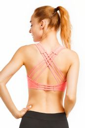 72 Units of Sofra Ladies Cross Back Sports Bra In Hot Coral - Womens Active Wear
